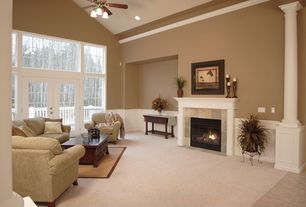 Traditional Living Room with Columns, Wainscotting, flush light, Ceiling fan, Wayfair custom upholstery eliza, Carpet