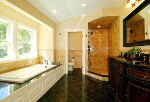"""Mediterranean Full Bathroom with simple granite floors, Double sink, Belle Foret 60"""" Double Bathroom Vanity Set IV"""