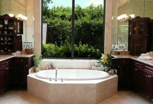 Modern Full Bathroom with Raised panel, Complex granite counters, Flush