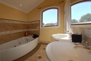 Modern Master Bathroom with Crown molding, Freestanding, Wall mounted sink, Master bathroom, Arched window