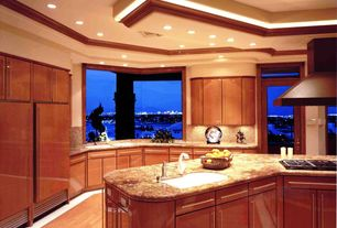 Modern Kitchen with High ceiling, specialty window, U-shaped, electric cooktop, can lights, Built In Panel Ready Refrigerator