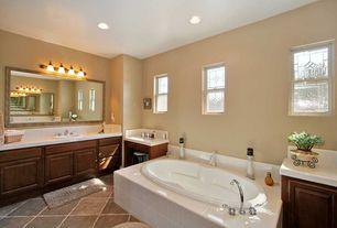 Craftsman Full Bathroom with large ceramic tile counters, drop in bathtub, Bathtub, Raised panel, can lights, Standard height