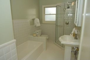 Traditional Full Bathroom with Pedestal sink, Flush, specialty door, drop in bathtub, Glass panel, Paint, Built-in bookshelf