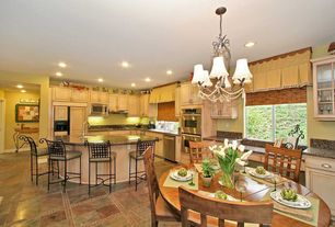 Country Great Room with Simple Granite, Breakfast nook, Chandelier, L-shaped, Simple granite counters, Kitchen island
