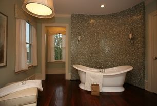 Modern Full Bathroom with Home Decorators Collection Handscraped Strand Woven Dark Mahogany Solid Bamboo Flooring
