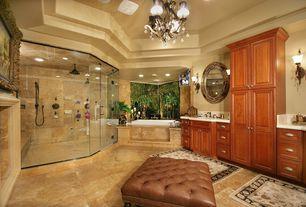 Mediterranean Master Bathroom with Chandelier, Double sink, partial backsplash, Handheld showerhead, Wall sconce, Wall Tiles