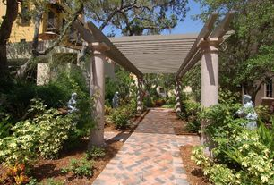 Mediterranean Landscape/Yard with Pathway, exterior tile floors, Trellis, exterior herringbone tile floors