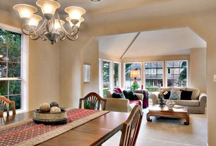 Eclectic Great Room with French doors, Chandelier, Carpet