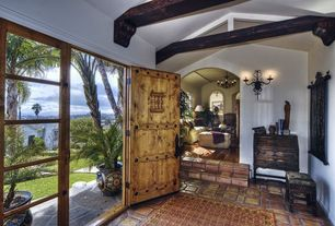 Rustic Entryway with Exposed beam, Savoy house ravali 2 light wall sconce, specialty door, Crown molding, French doors