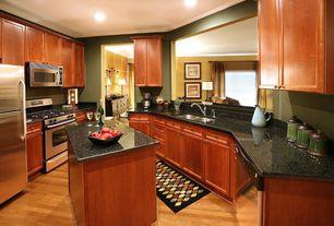 Traditional Kitchen with Hardwood floors, Kitchen island, U-shaped, Quartz counters, Simple Granite, Flat panel cabinets