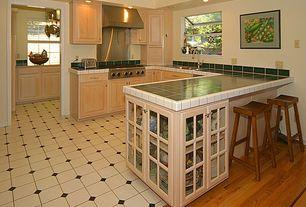 Country Kitchen with Glass panel, U-shaped, Undermount sink, Garden window, Raised panel, Breakfast bar, Large Ceramic Tile