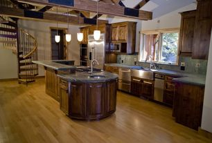 Craftsman Kitchen with Fisher & Paykel Double Dishwasher Drawer, Pendant light, Ms international green eclipse marble