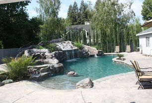 Tropical Swimming Pool with exterior stone floors, Fence, Other Pool Type, Casement, Raised beds