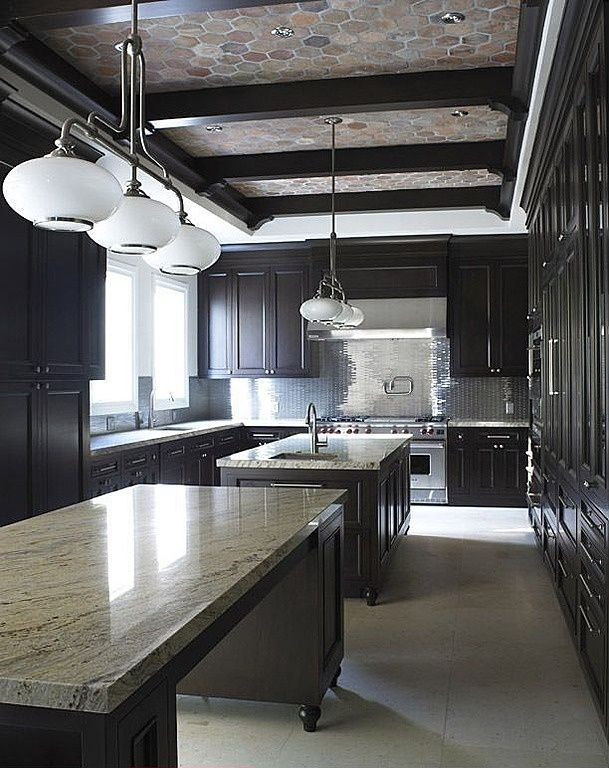 "Contemporary Kitchen with full backsplash, Flat panel cabinets, Exposed beam, Arto - bb44 6"" hexagon - creme fraiche vintage"
