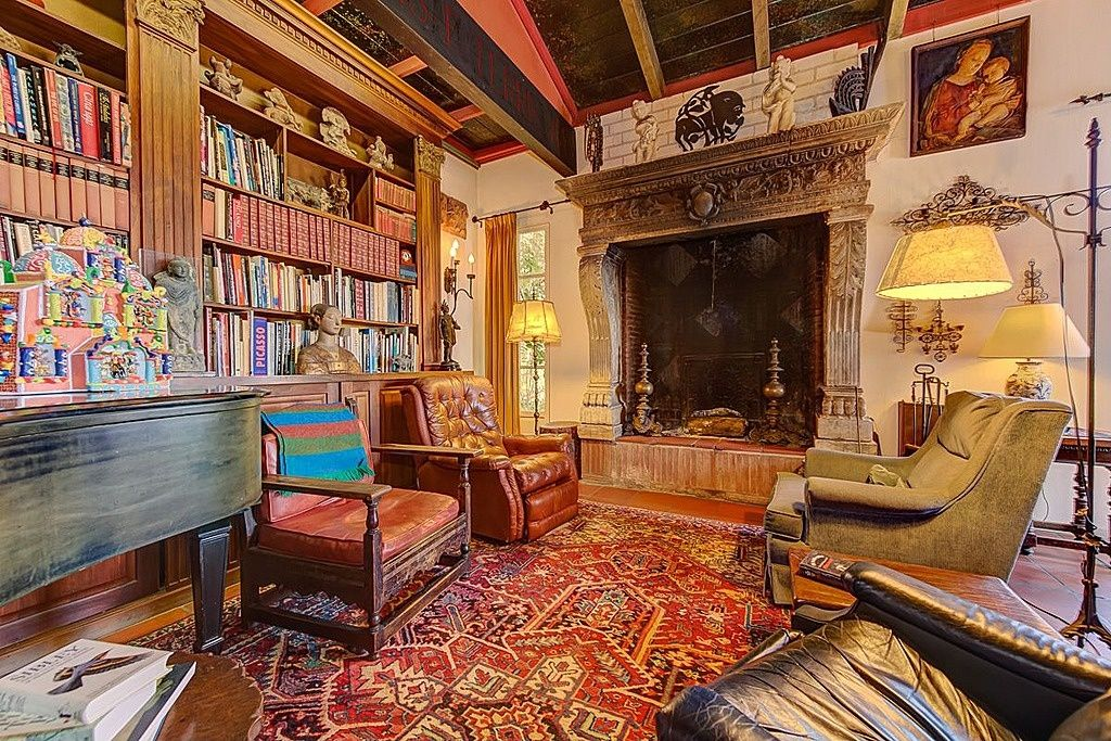 Eclectic Living Room with other fireplace, Paint 1, High ceiling, double-hung window, Exposed beam, terracotta tile floors