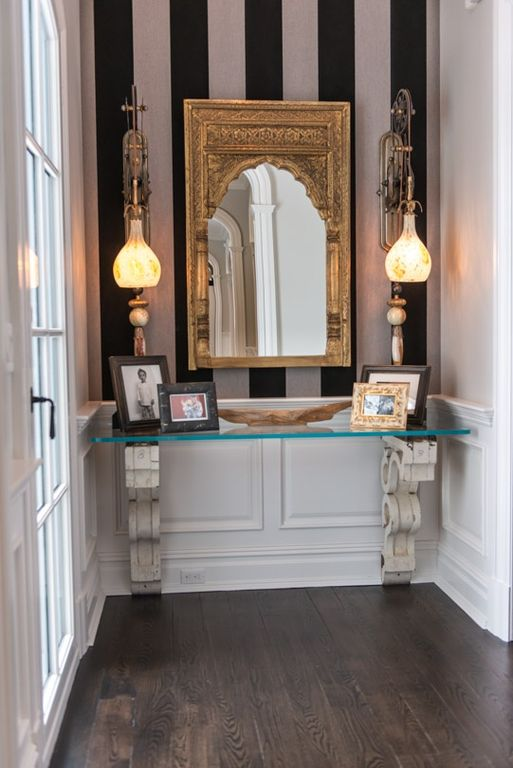 Traditional Entryway with Paint, Toltec lighting elegante mini pendant, Chair rail, Standard height, Island height corbel