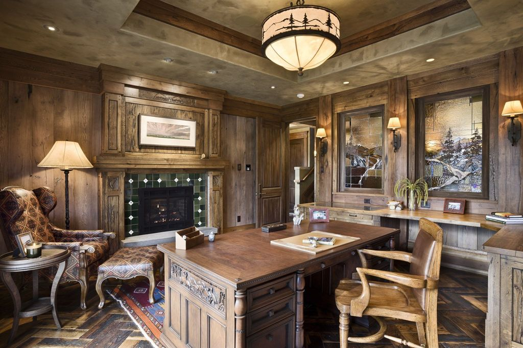 rustic home office with wall sconce by locati architects zillow digs. Black Bedroom Furniture Sets. Home Design Ideas