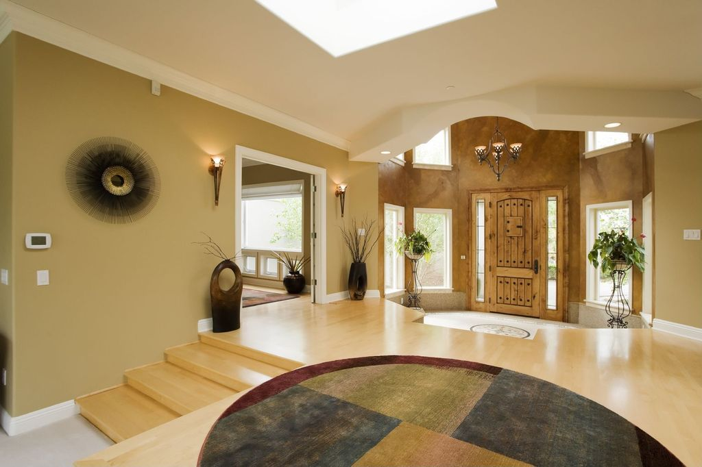 Traditional Entryway with Wall sconce, Sunken entry, Crown molding, Laminate floors, Achla Metal Designs Verandah Plant Stand