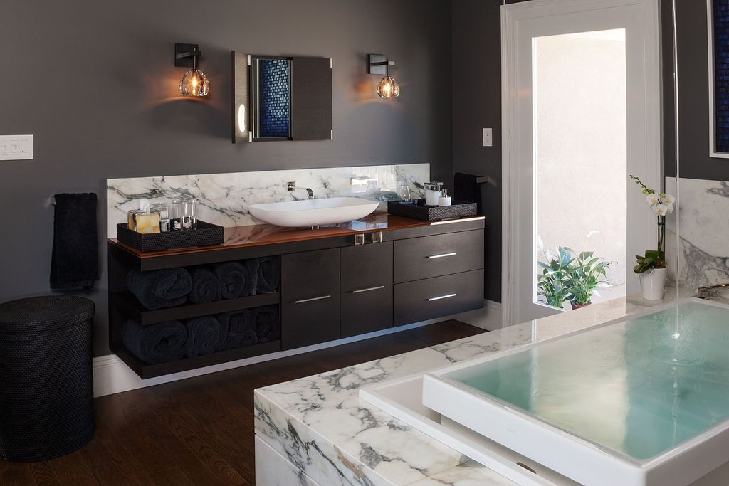 Contemporary Master Bathroom with drop in bathtub, Simple marble counters, partial backsplash, Hardwood floors, Paint 1
