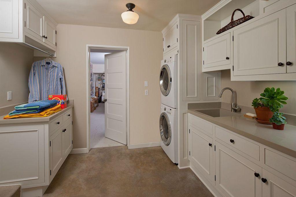 Traditional Laundry Room with Rejuvenation Jefferson 6in Classic Flush Ceiling Fixture, Concrete floors, Built-in bookshelf