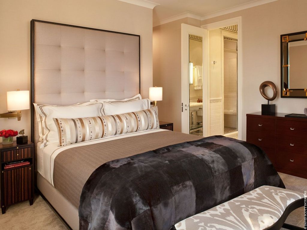Contemporary Master Bedroom with Wholesale interiors baxton studio penta queen platform bed, Paint, Carpet, Crown molding