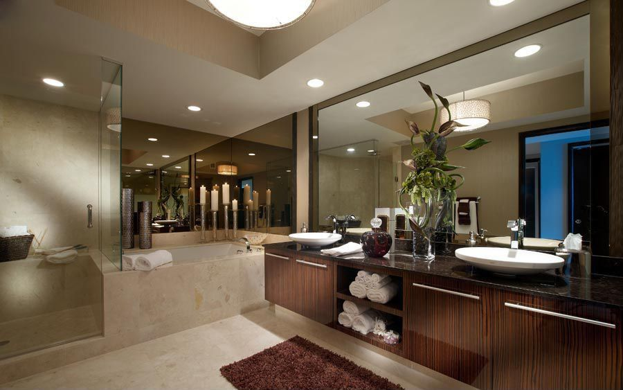 Contemporary Master Bathroom with can lights, Vessel sink, Lacquer cabinets, frameless showerdoor, stone tile floors, Paint