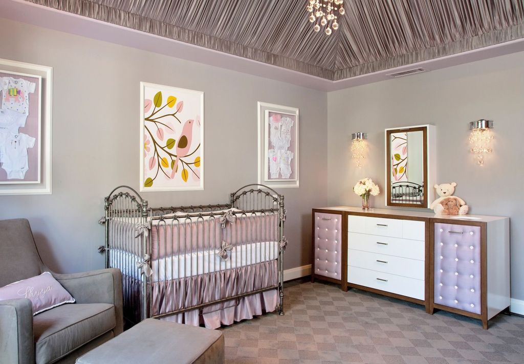 Contemporary Kids Bedroom with Draped ceiling, Paint 2, Chandelier, Custom furniture, Paint, Wall sconce, Trey ceiling
