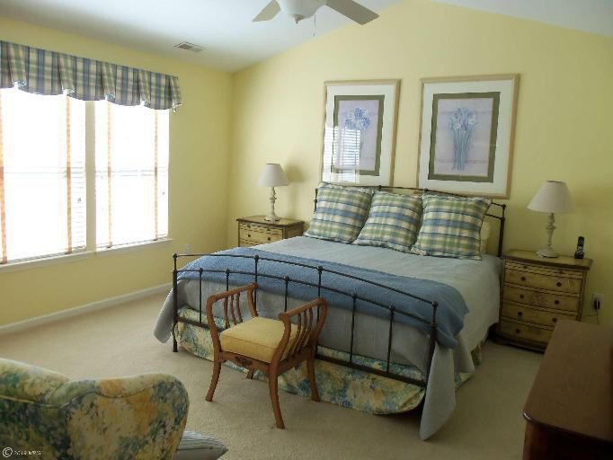 Traditional Guest Bedroom with Ceiling fan, Standard height, Carpet