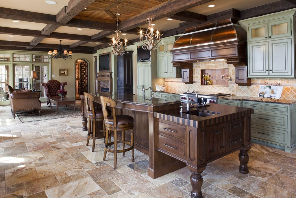 Traditional Kitchen with Tumbled travertine tile flooring - multiple sizes, MS International Peach Travertine Pattern Tile