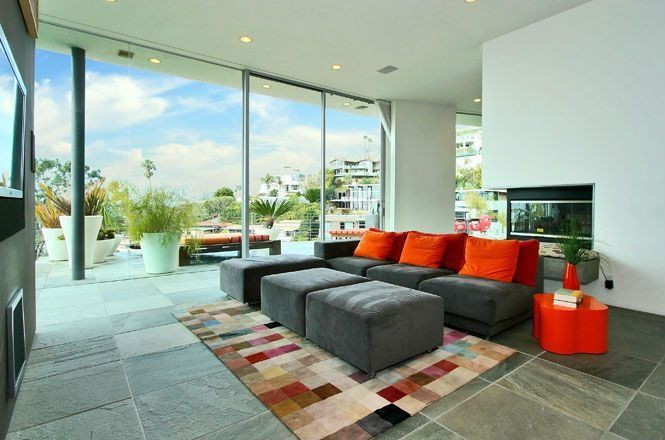 Contemporary Living Room with Bold Rugs Safavieh Rodeo Drive RD644A Multi Area Rug 6 x 9