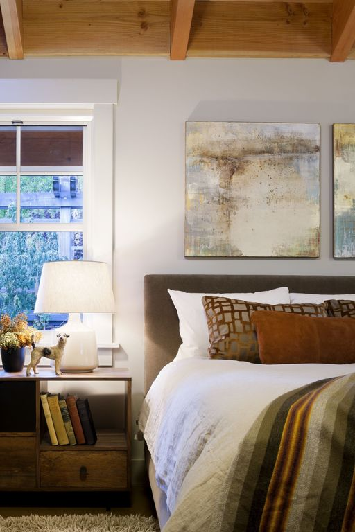 Contemporary Master Bedroom with double-hung window, Exposed beam, Skyline furniture panel bed, Paint