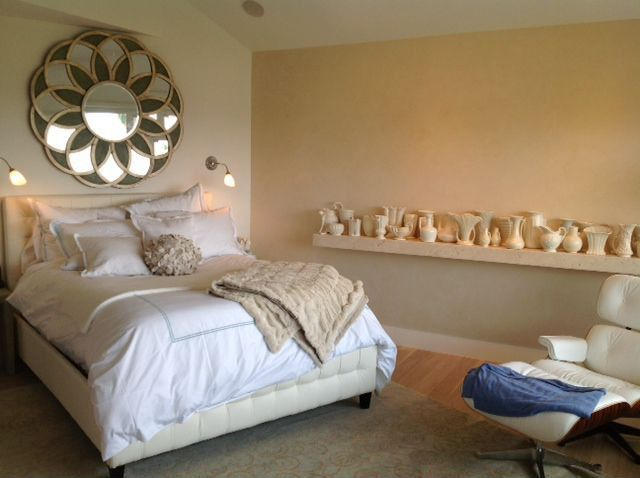 Eclectic Master Bedroom with Laminate floors, Egyptian cotton collection double line embroidered duvet cover set with shams