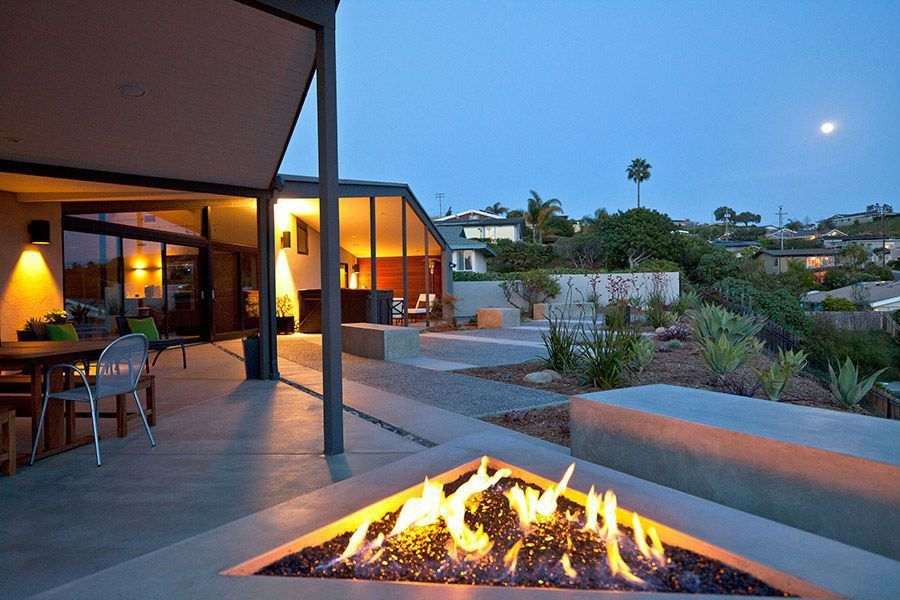 Contemporary Patio with Fire pit, Pathway, Fence, Transom window, picture window, French doors