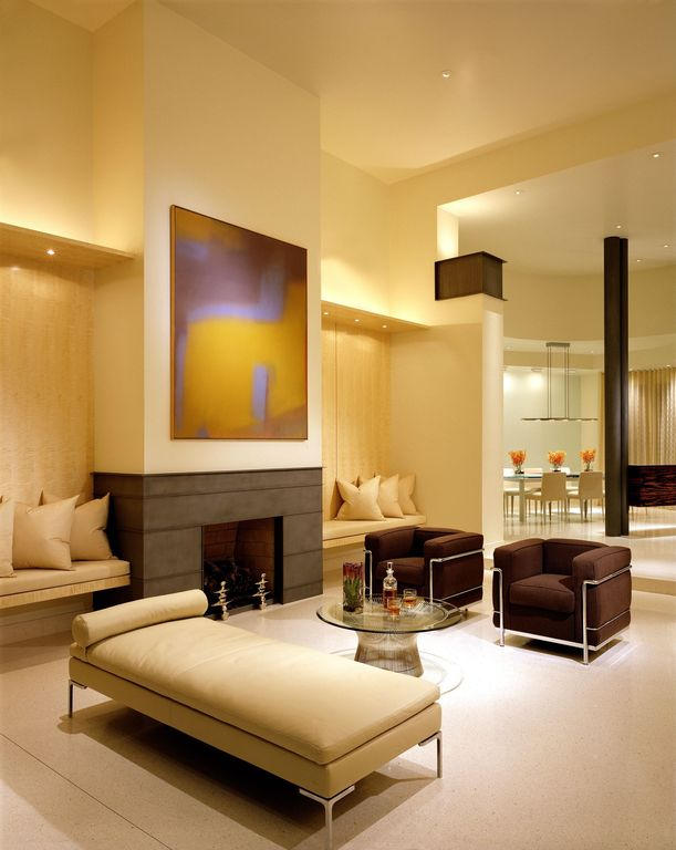 Modern Living Room with insert fireplace, Room and board hess leather studio sofas, High ceiling, Fireplace, Paint 1