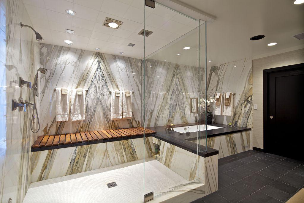 Contemporary Master Bathroom with drop in bathtub, Master bathroom, Frameless  glass showerdoor, Shower, Standard height