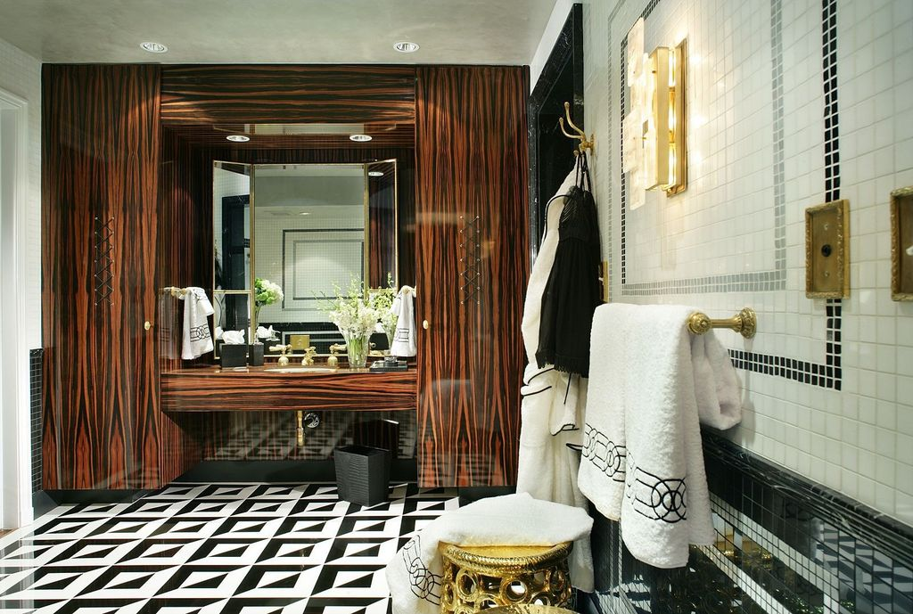 Contemporary Master Bathroom with Undermount sink, Wood counters, Master bathroom, Standard height, Wall Tiles, Wall sconce