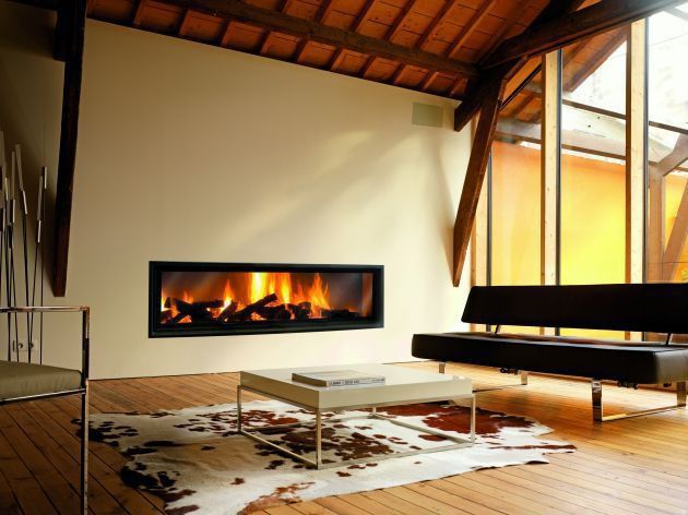 Contemporary Living Room with Hardwood floors, Hereford brown cowhide rug, Fireplace, insert fireplace, Vista coffee table