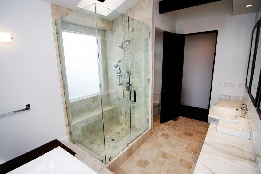 Contemporary Master Bathroom with can lights, three quarter bath, Standard height, Vessel sink, Wall sconce, Shower