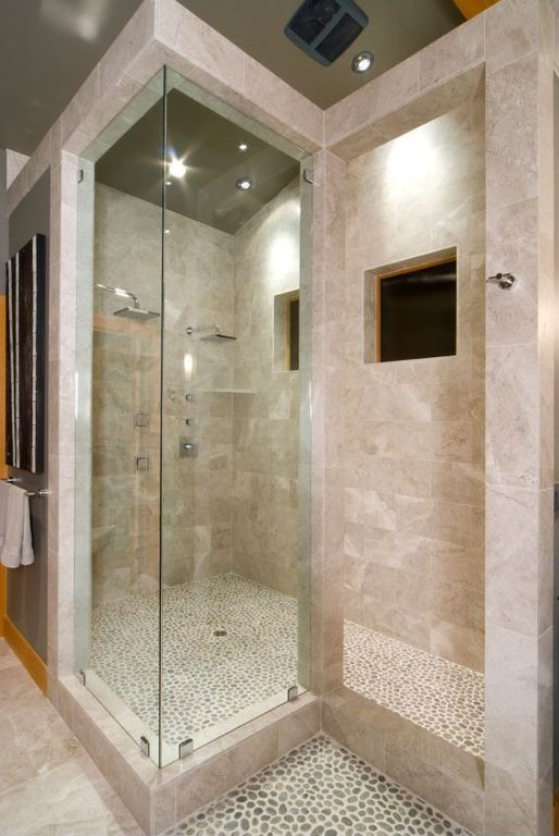 Contemporary Master Bathroom with Shower, can lights, Standard height, stone tile floors, three quarter bath, Rain shower