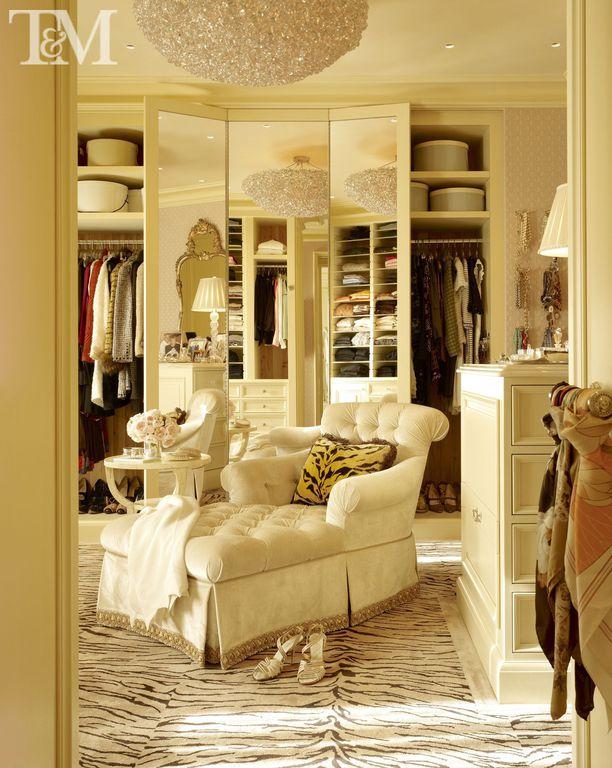 Contemporary Closet with Hand-tufted zebra stripe wool rug, overstock.com, Chandelier, interior wallpaper, can lights, Carpet