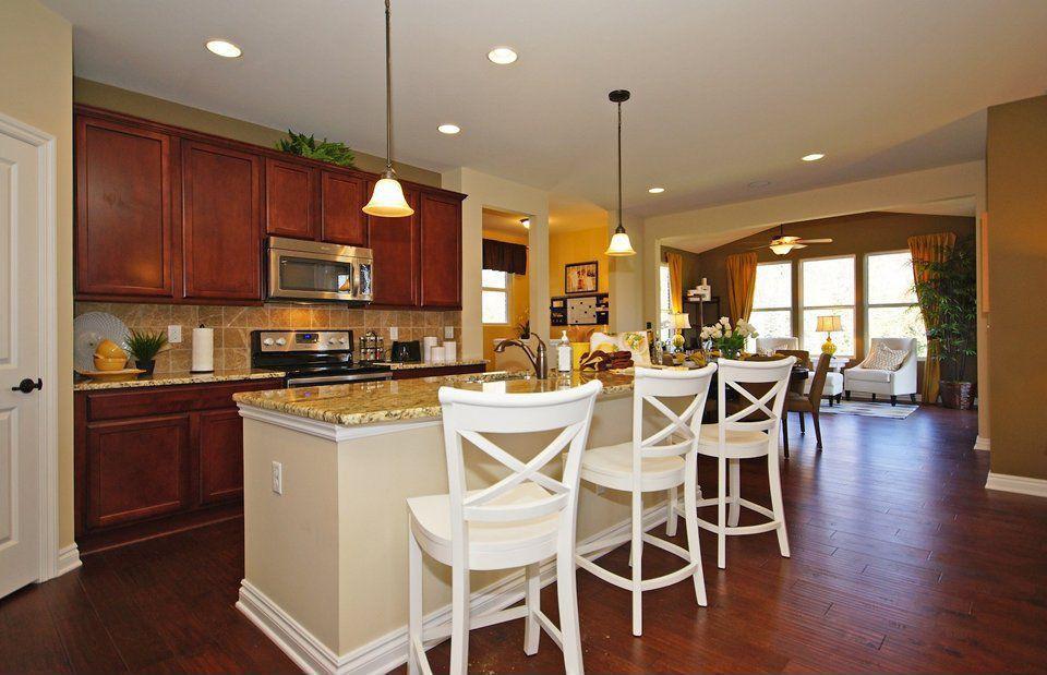 Traditional Kitchen with Stonemark Granite-Granite Countertop Sample in Giallo Napoleon, Flat panel cabinets, One-wall