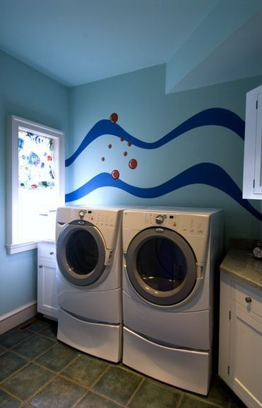 Traditional Laundry Room with Paint 3, Mural, Whirlpool, due front-load steam washer & dryer bundle & pedestals, Drop-in sink