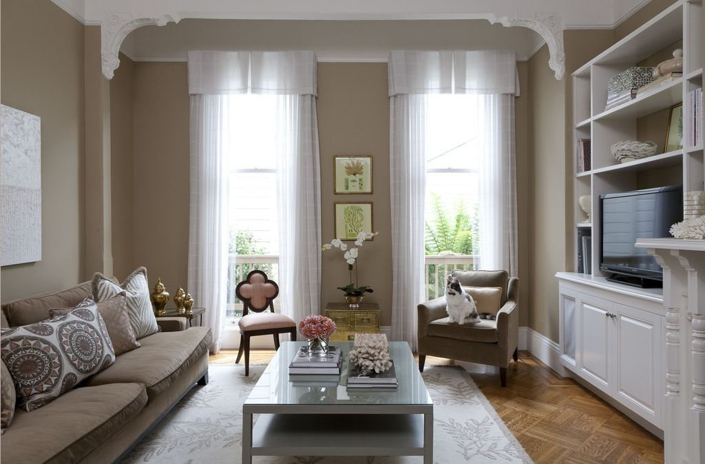 Traditional Living Room with High ceiling, Alexandra Side Chair, Built-in bookshelf, Homeware sonoma arm chair and ottoman