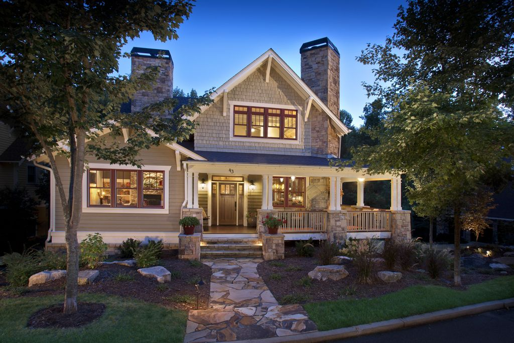 Craftsman Exterior Of Home With Natural Stone Pathway Transom Window