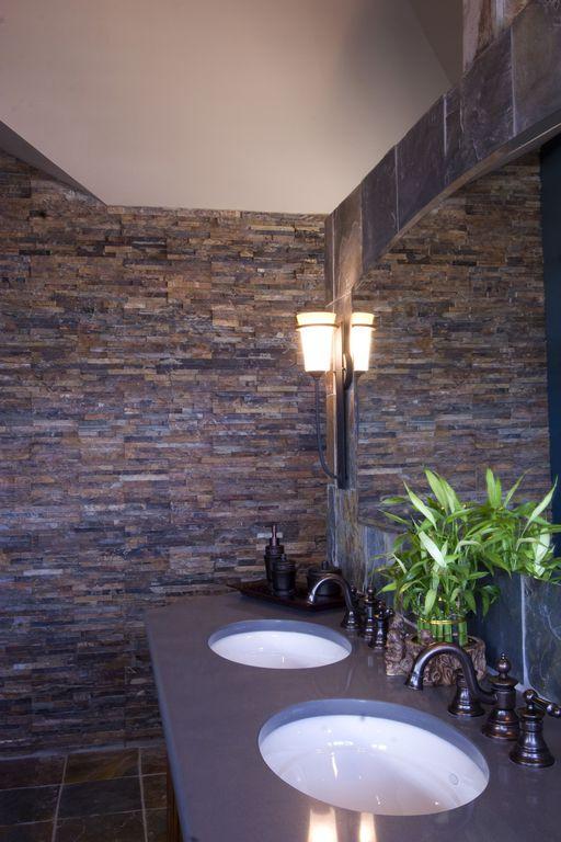 Modern Full Bathroom with Paint 1, Pental Quartz Stormy Sky, MS International Rustic Gold Slate Tile