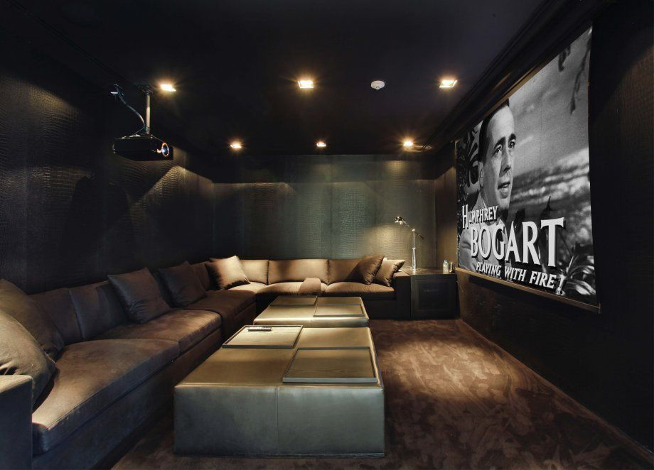 Modern Game Room with Leather coffee ottoman, can lights, L shaped sofa, Ceiling mounted projector, Projector screen