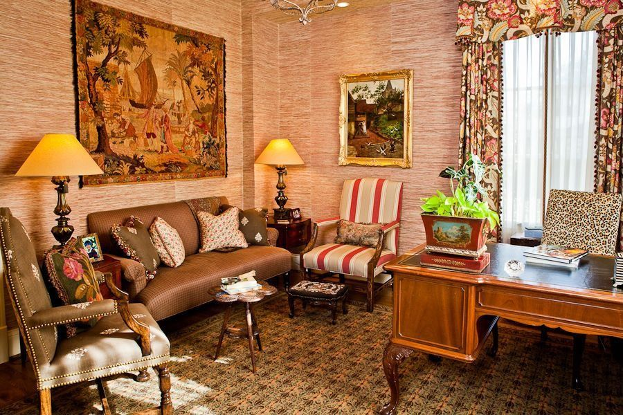 Traditional Home Office with interior wallpaper, High ceiling, Carpet, Chandelier, specialty window