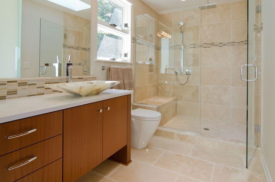 Contemporary 3/4 Bathroom with double-hung window, Flush, frameless showerdoor, European Cabinets, Shower, Standard height