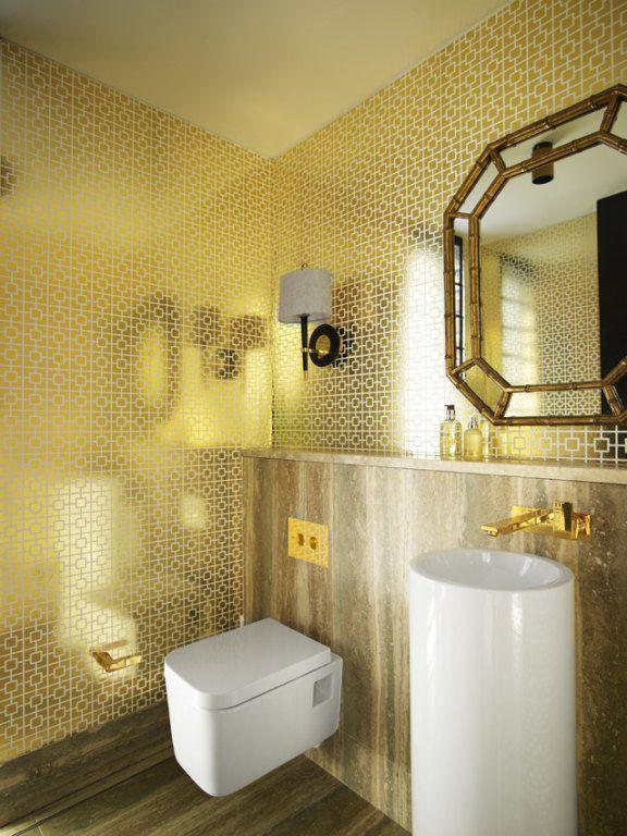 Art Deco Powder Room with interior wallpaper, Adm bathroom design - dw-191w (20 x 20) stone resin pedestal sink, white gloss