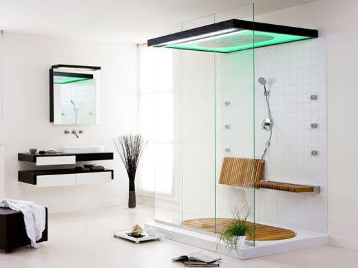 Modern 3/4 Bathroom with Vessel sink, Tilt Up Oil Rubbed Bronze Hinges Bath Seat, Walk through shower, Natural light